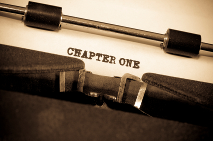 An image of a typewriter with the words CHAPTER ONE, the start of a new book